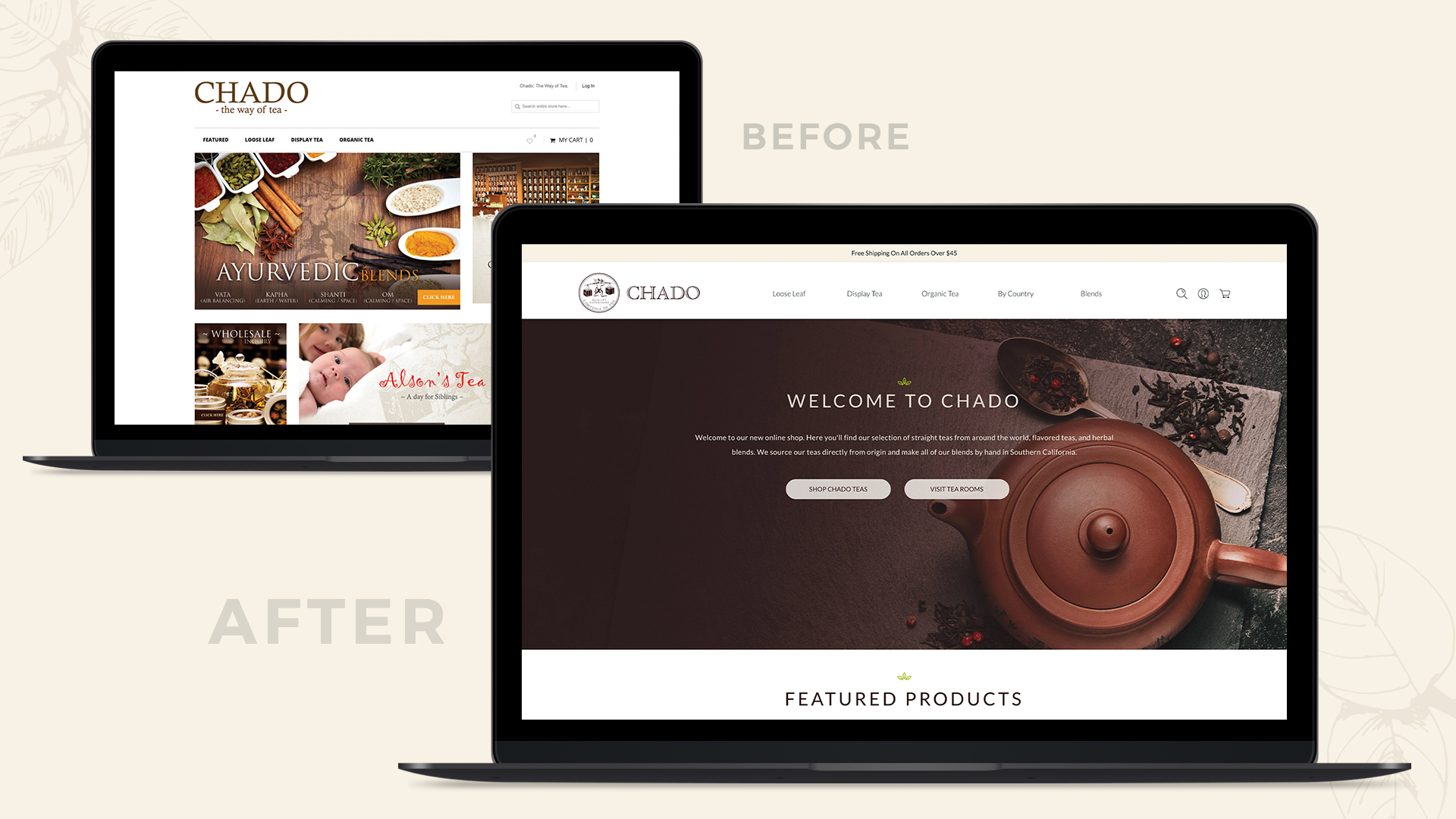 Chado Tea Home Page Before and After