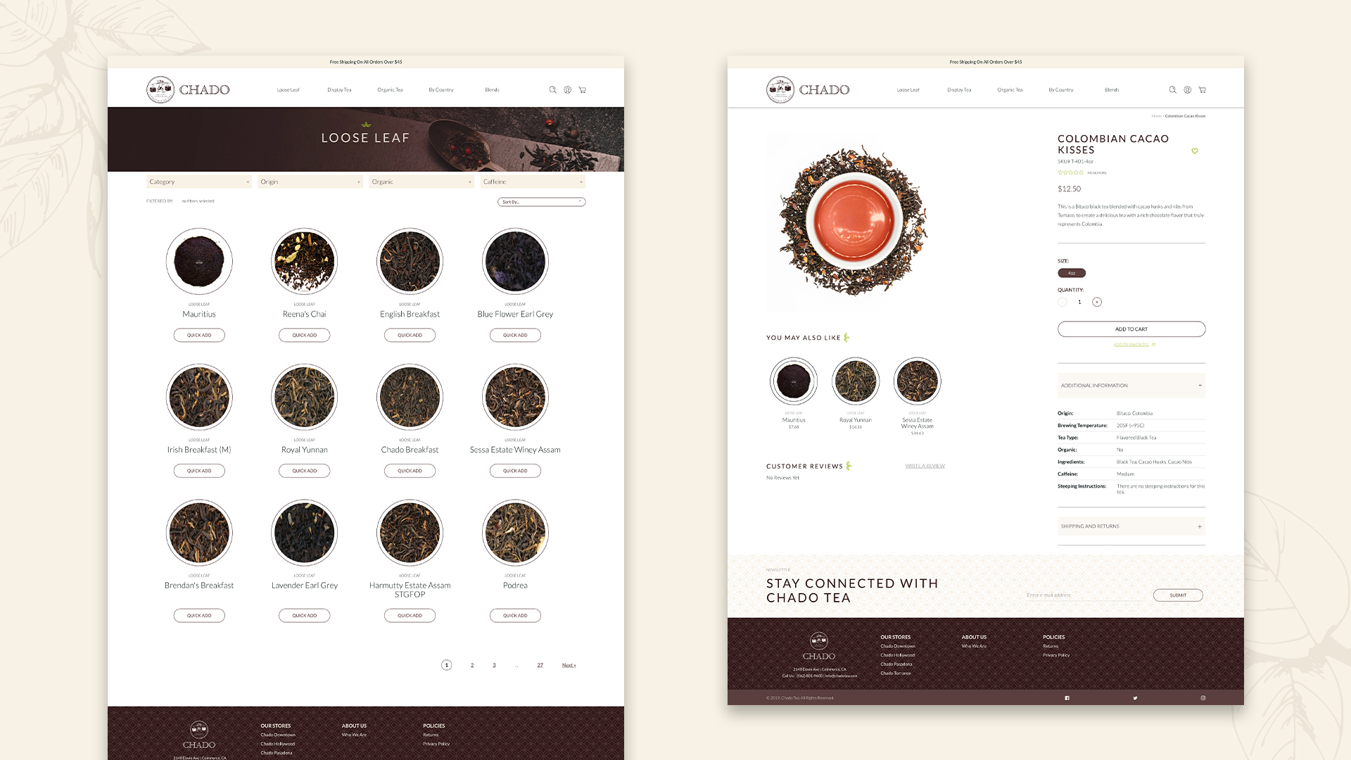 Chado Tea Collection Page and Product Page Layout