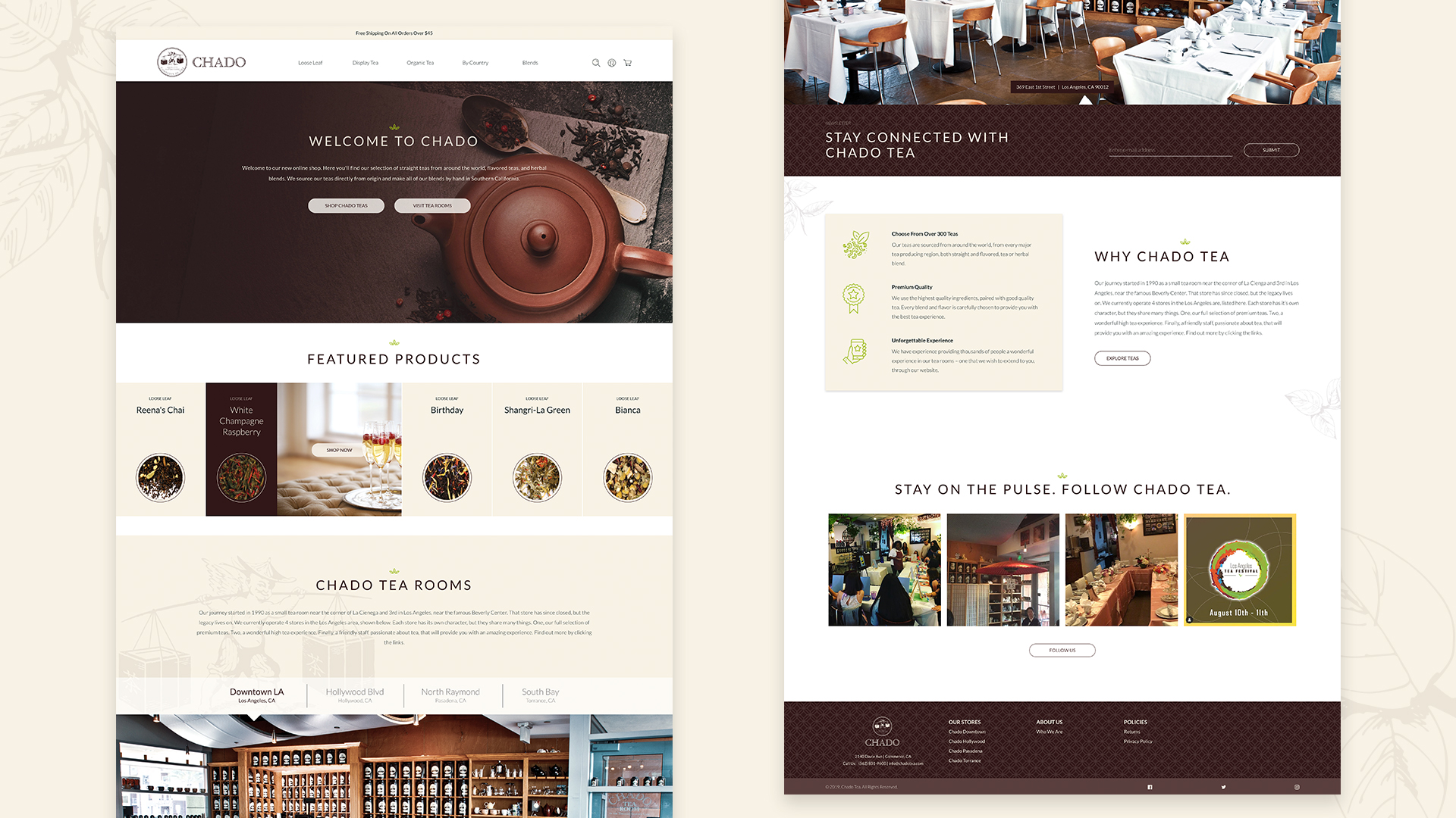 Chado Tea Home Page Layout