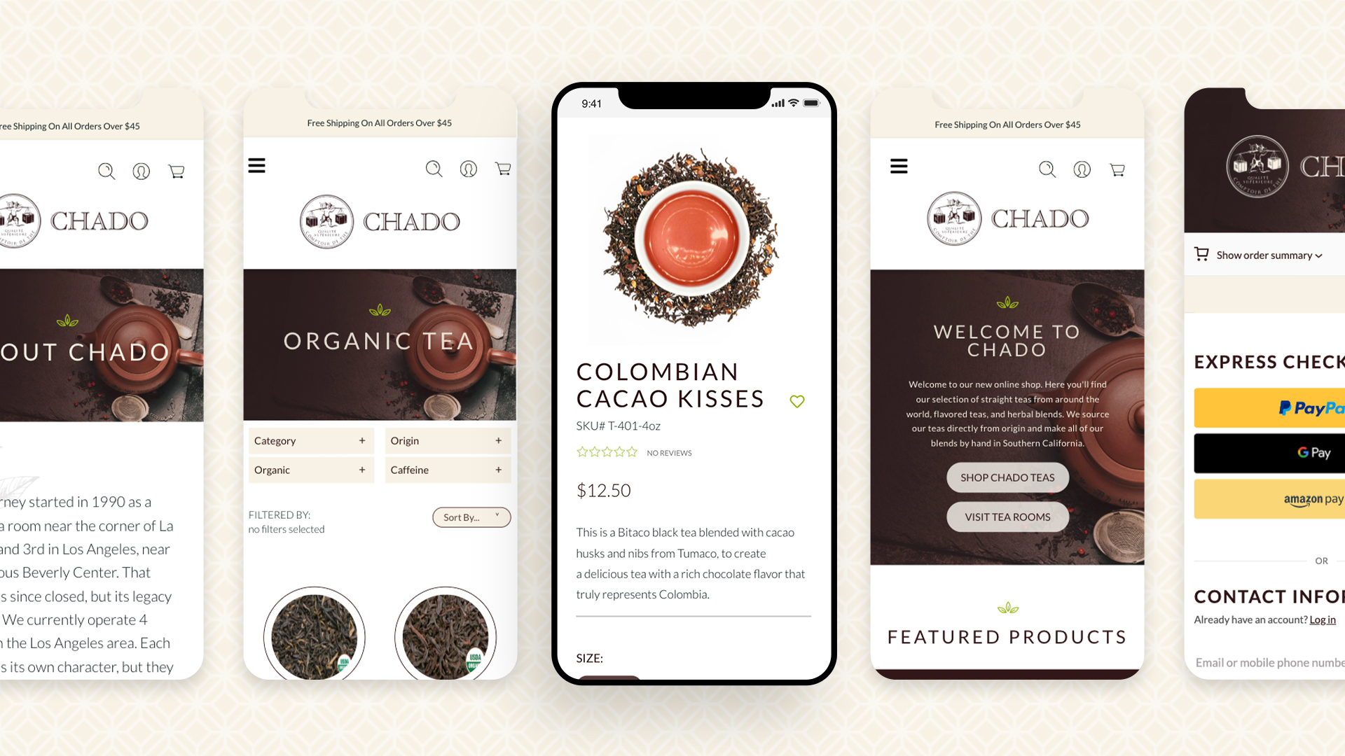 Chado Tea Mobile Layouts