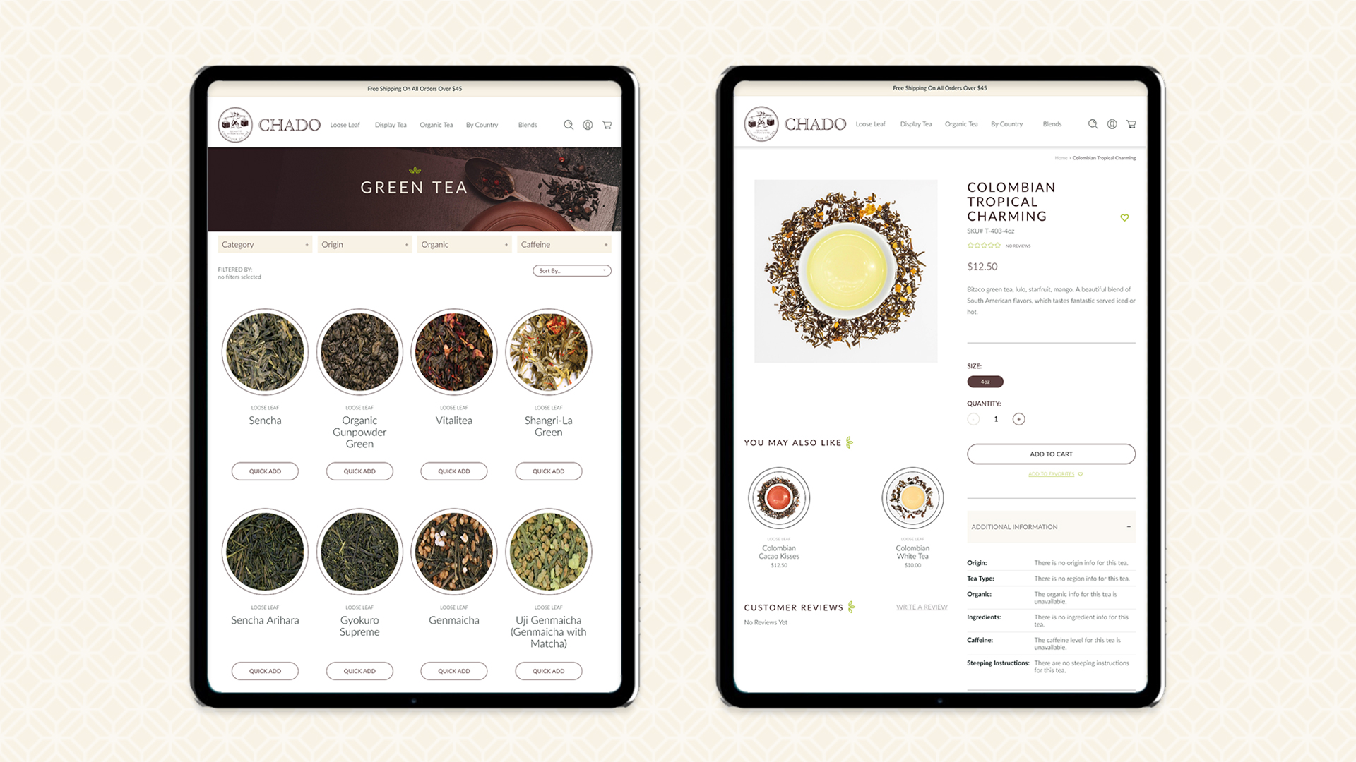 Chado Tea Tablet Layout